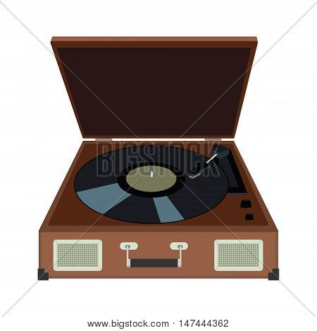 Stereo Vinyl Record Gramophone Player. Retro Music Gadget From 21-st Century. Old Musical Device Vec