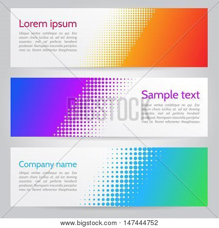 Colorful vector banners with halftone design. Colorful vector banners with halftone design. Horizontal web banners. Colorful vector banners