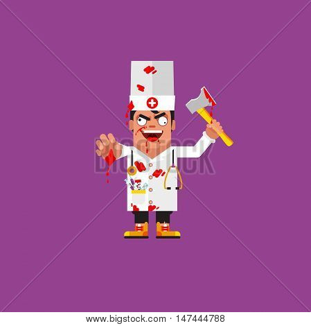Stock vector illustration a bloody medical doctor is holding an ax, character for halloween in a flat style
