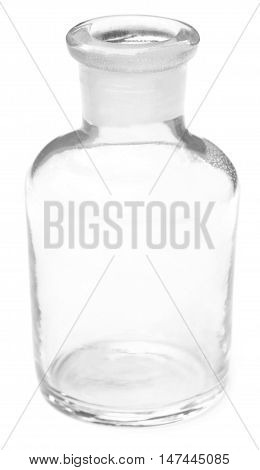 Close up of Reagent bottle over white background