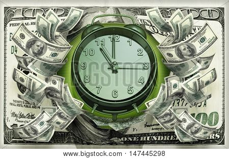 Clock With Money 3D Illustration