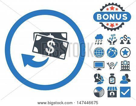 Cashback icon with bonus symbols. Vector illustration style is flat iconic bicolor symbols, smooth blue colors, white background.