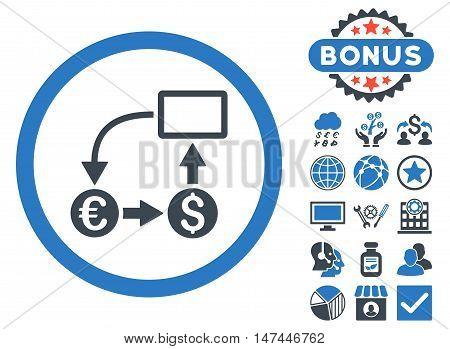 Cashflow Euro Exchange icon with bonus pictogram. Vector illustration style is flat iconic bicolor symbols, smooth blue colors, white background.