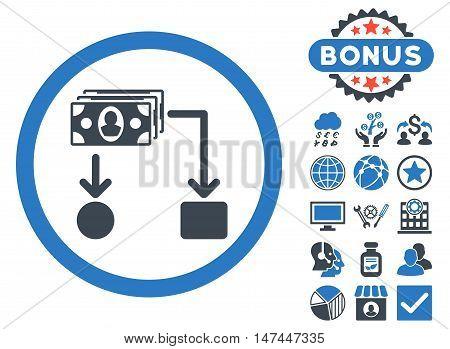 Cashflow icon with bonus symbols. Vector illustration style is flat iconic bicolor symbols, smooth blue colors, white background.