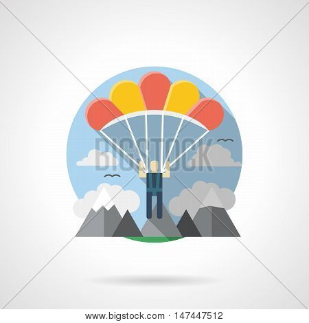 Skydiver with red and yellow parachute. Tourism, travel, extreme sport theme. Activity leisure. Parachuting in a mountains. Round detailed flat color style vector icon.