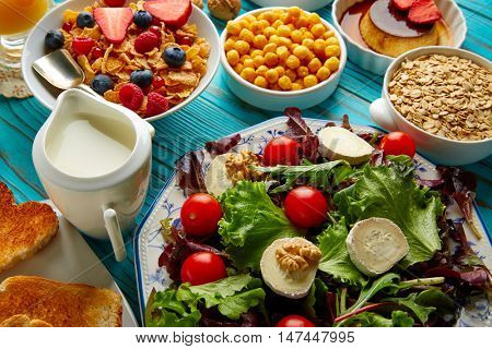 healthy breakfast salad and cereals continental
