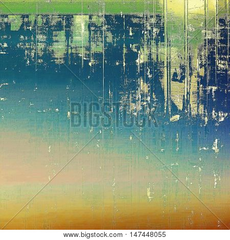 Highly detailed scratched texture, aged grungy background. Vintage style composition with different color patterns: yellow (beige); green; blue; red (orange); cyan