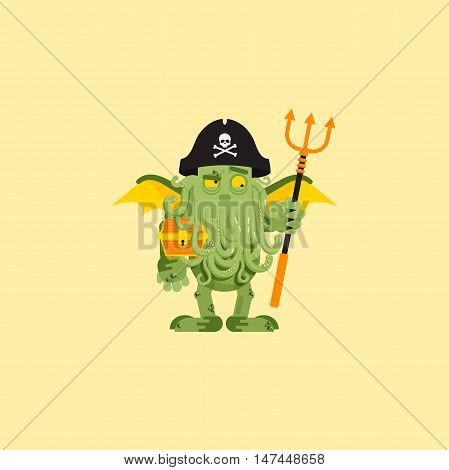 Stock vector illustration a Cthulhu character for halloween in a flat style