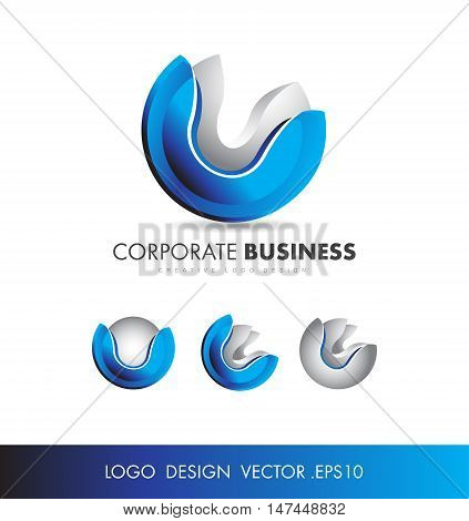 Corporate sphere 3d vector logo icon design
