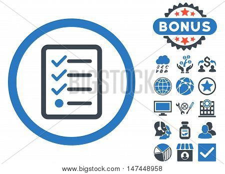 Checklist icon with bonus pictures. Vector illustration style is flat iconic bicolor symbols, smooth blue colors, white background.