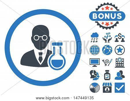 Chemist icon with bonus symbols. Vector illustration style is flat iconic bicolor symbols, smooth blue colors, white background.