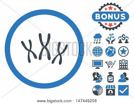 Chromosomes icon with bonus images. Vector illustration style is flat iconic bicolor symbols, smooth blue colors, white background.