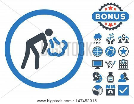 Cough icon with bonus pictures. Vector illustration style is flat iconic bicolor symbols, smooth blue colors, white background.