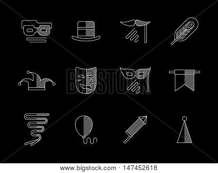 Celebration party with masquerade. Classic hat, theatrical mask, fireworks, balloons and other. Carnival decorative elements. Flat white line vector icons collection on black.