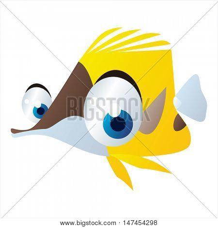 vector cartoon cute sealife mascot. Funny colorful cool illustration of happy Fish