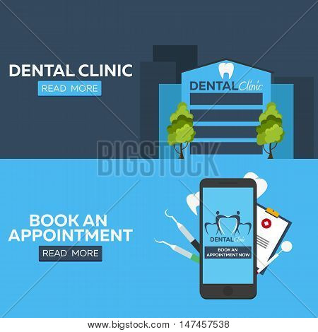 Dental horizontal banners set. Book an appointment. Online entry. Dental clinic banner.