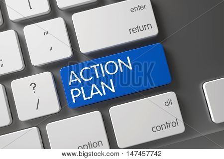 Action Plan Concept Modernized Keyboard with Action Plan on Blue Enter Button Background, Selected Focus. 3D.