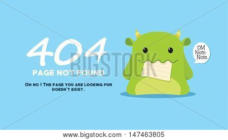 404 page not found with monster eat the page illustration vector