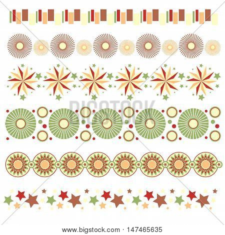 Colorful trim collection with stars circles and abstract flowers