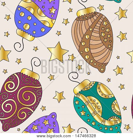 Elegant Christmas texture wit baubles and stars