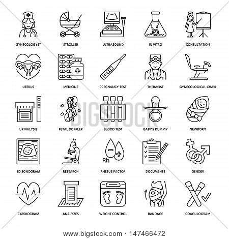 Medical vector line icon of pregnancy and obstetrics. Gynecology elements - chair tests doctors sonogram baby pregnancy gadgets. Obstetrics design element for sites hospitals clinics.