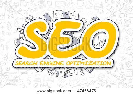 SEO - Search Engine Optimization - Sketch Business Illustration. Yellow Hand Drawn Inscription SEO - Search Engine Optimization Surrounded by Stationery. Cartoon Design Elements.