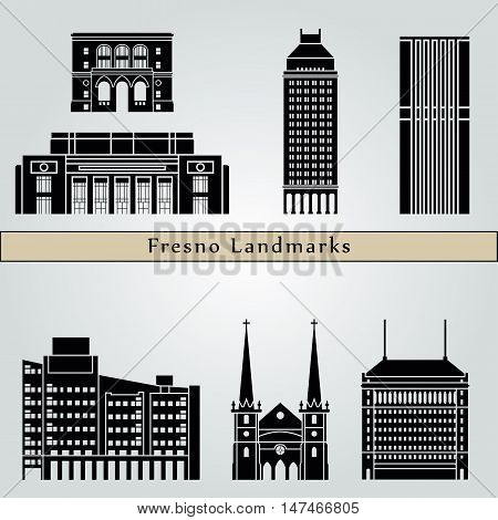 Fresno landmarks and monuments isolated on blue background in editable vector file