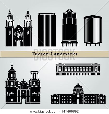 Tucson landmarks and monuments isolated on blue background in editable vector file