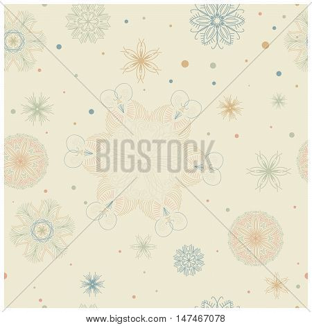 Seamless tiling pastel texture with ornaments and dots