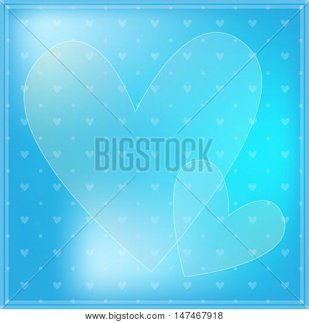 Blue and white romantic background with hearts