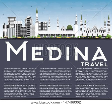 Medina Skyline with Gray Buildings, Blue Sky and Copy Space. Vector Illustration. Business Travel and Tourism Concept with Historic Buildings. Image for Presentation Banner Placard and Web Site.