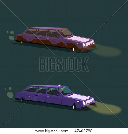 Clean and dirty vintage american limousine. Cartoon vector illustration. Car isolated. Design element. Carwash.