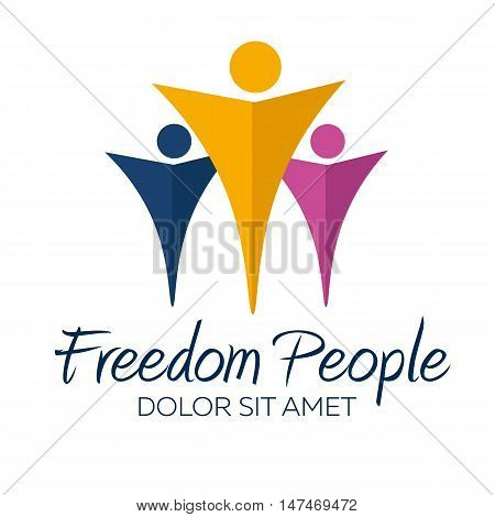 Freedom logo. Freedom people logotype. Vector minimalistic