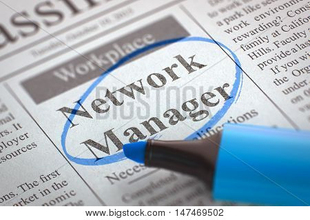 A Newspaper Column in the Classifieds with the Small Ads of Job Search of Network Manager, Circled with a Blue Highlighter. Blurred Image. Selective focus. Job Search Concept. 3D Illustration.