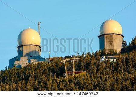 Radiostation and cable car on Grosse Arber mount - King of Bavarian Forest Germany