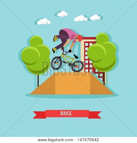 BMX cyclist performing stunt in the skatepark on the street. Guy doing a tail whip at ramp. Extreme sport. Flat design vector illustration