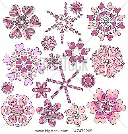 Pink Valentine Heart Ornament Collection isolated over white background