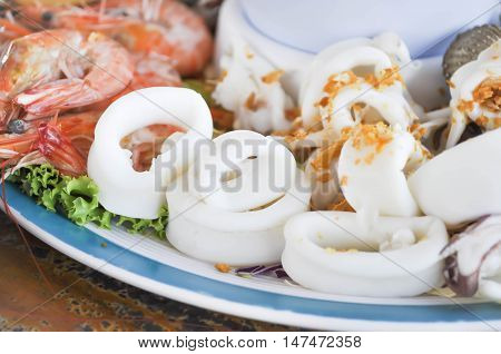 steamed squid or sliced squid dish on the table