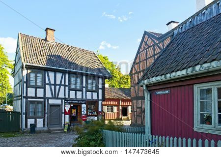 OSLO, NORWAY - AUGUST 29, 2016: The Historic Buildings in The Norwegian Museum of Cultural History ( The Norwegian Folk Museum ) in Oslo.