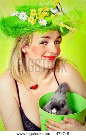 Spring Girl Holding A Bunny
