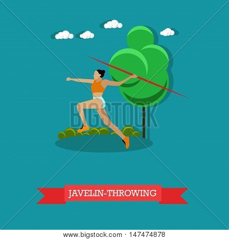Vector illustration of sportswoman javelin throwing. Track and field athletics competitions. Female athlete running to throw javelin. Flat design