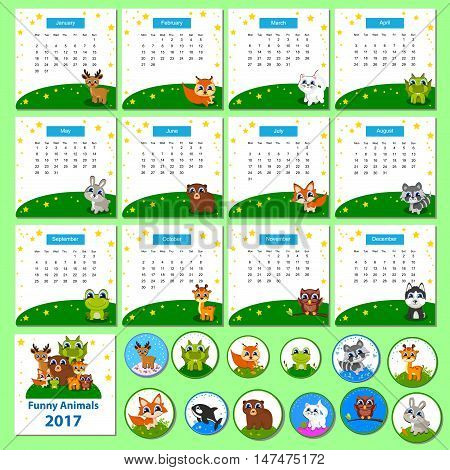 Calendar 2017 with funny cartoon animals. Week start on monday, grid with numbers of weeks. Editable vector template. Ideal for kids, for web, card, banner, poster, bookmark, notepad.