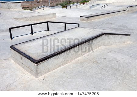 Empty Public skate park by the beach