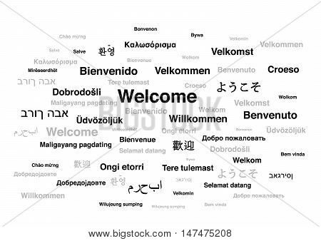 Welcome phrase in different languages of the world isolated on white background