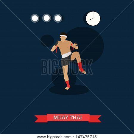 Muay Thai fighter kicking. Thai boxing training. National martial art from Thailand. Vector illustration in flat design
