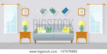 Living room in flat style with furniture. Apartment interior vector design.
