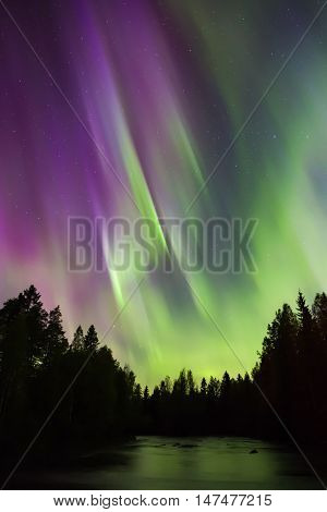 Colorful Northern Lights (aurora Borealis) In The Sky