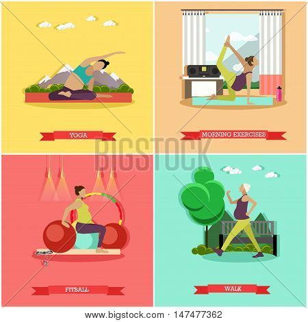Vector set of healthy pregnancy. Morning exercise, fitness, fitball training, walk and yoga for pregnant women. Active healthcare lifestyle. Flat design