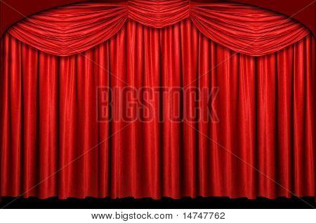 Cortina de palco vermelho com arco entrada