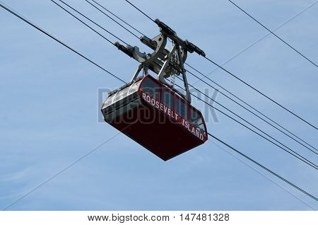 New York City USA - Aug 09 2016: View of the famous Roosevelt Island cable tram that connects Roosevelt Island to Manhattan Uptown.